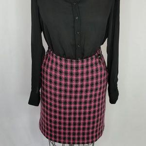Harold's Wool Blend Pink Plaid Pencil Skirt